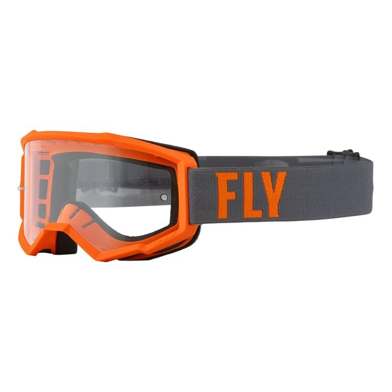Masque enfant Fly Racing Focus gris/orange- écran transparent