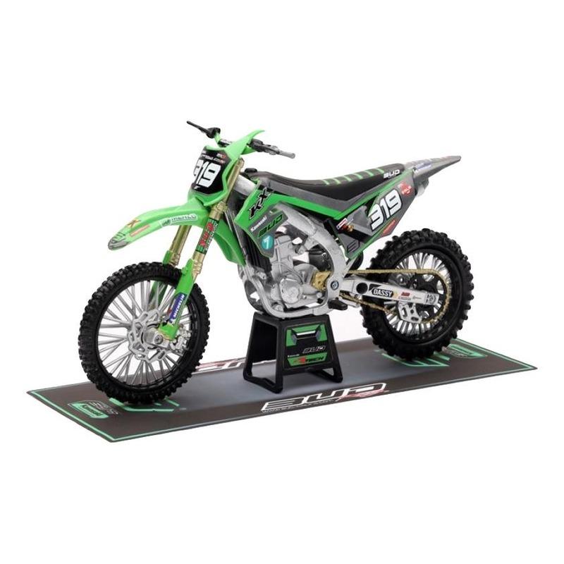 Moto miniature New Ray Kawasaki 250 KXF Bud Racing Team 20 Réplica #319 1/12°