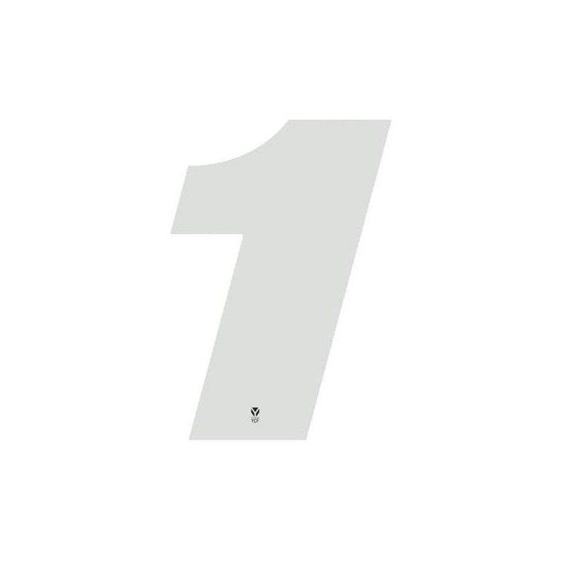 Numéro 1 YCF hauteur 18 cm blanc (3 pièces)