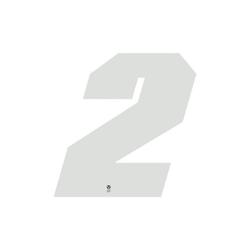 Numéro 2 YCF hauteur 11 cm blanc (3 pièces)