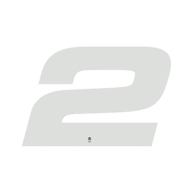 Numéro 2 YCF hauteur 18 cm blanc (3 pièces)