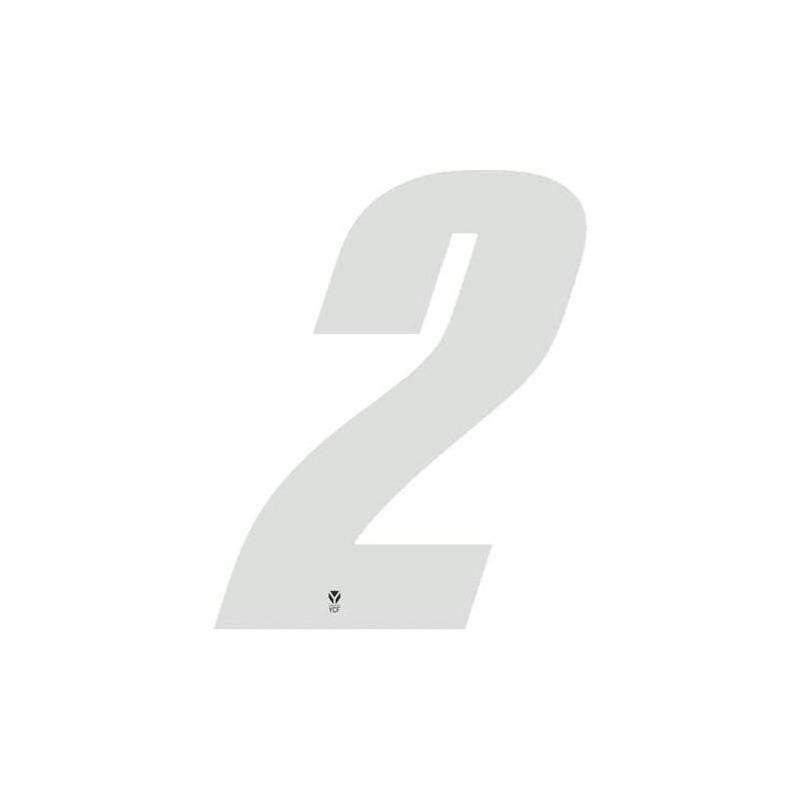 Numéro 2 YCF hauteur 8 cm blanc (3 pièces)