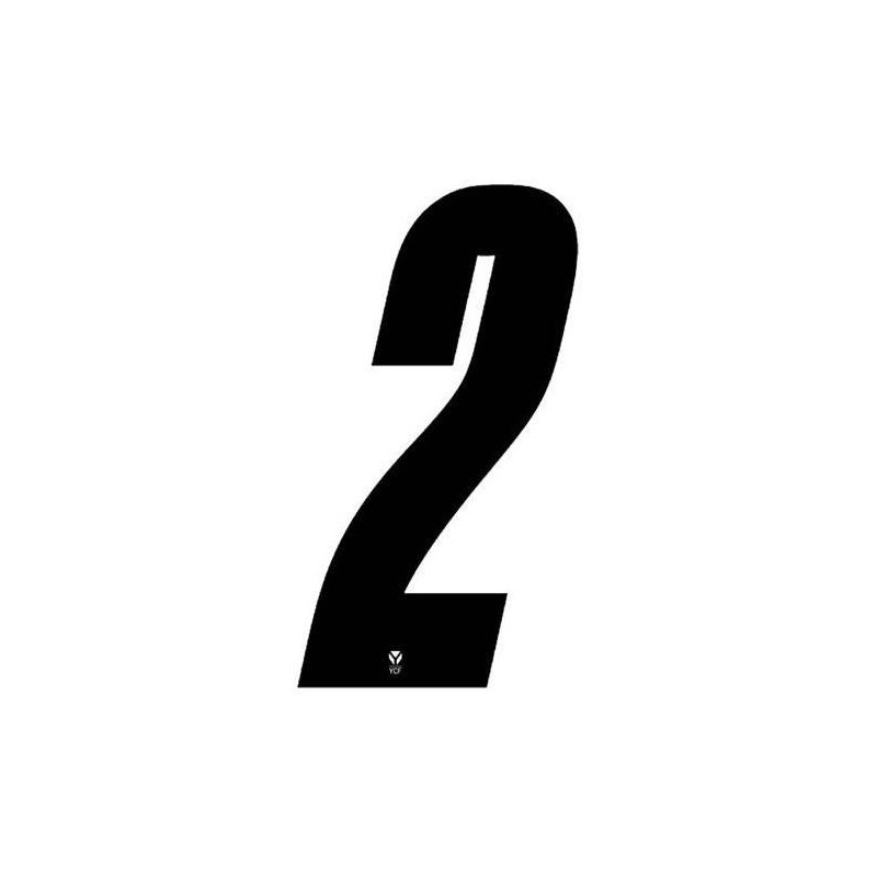 Numéro 2 YCF hauteur 8 cm noir (3 pièces)