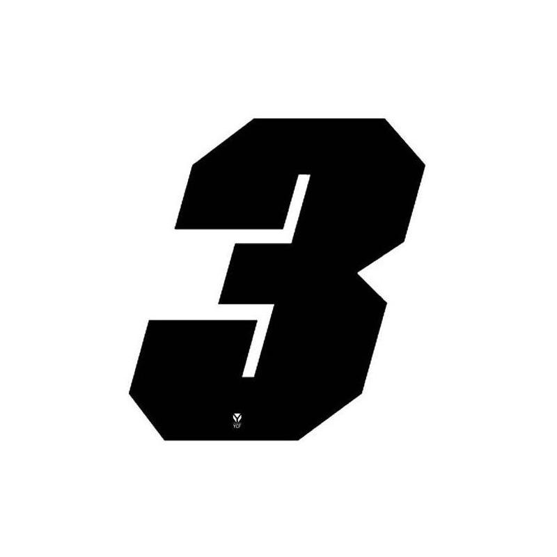Numéro 3 YCF hauteur 11 cm noir (3 pièces)