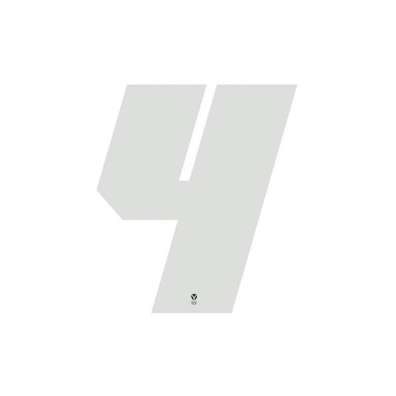 Numéro 4 YCF hauteur 11 cm blanc (3 pièces)