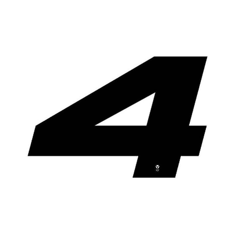 Numéro 4 YCF hauteur 18 cm noir (3 pièces)
