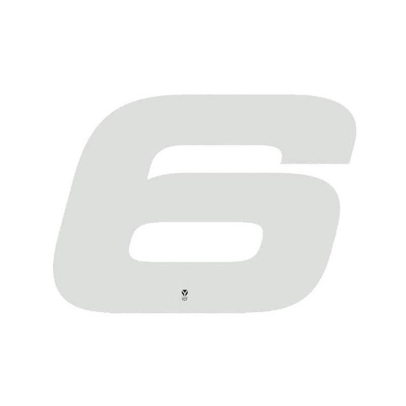 Numéro 6 YCF hauteur 18 cm blanc (3 pièces)