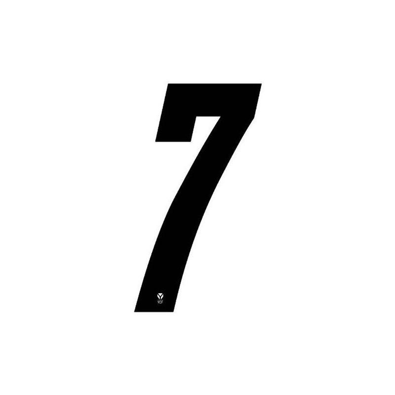 Numéro 7 YCF hauteur 8 cm noir (3 pièces)