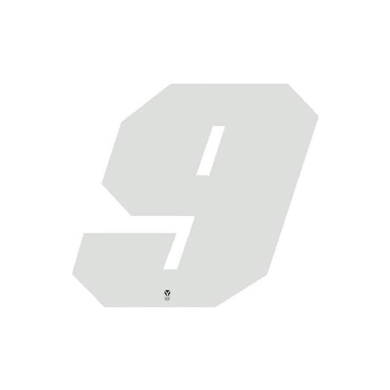Numéro 9 YCF hauteur 11 cm blanc (3 pièces)