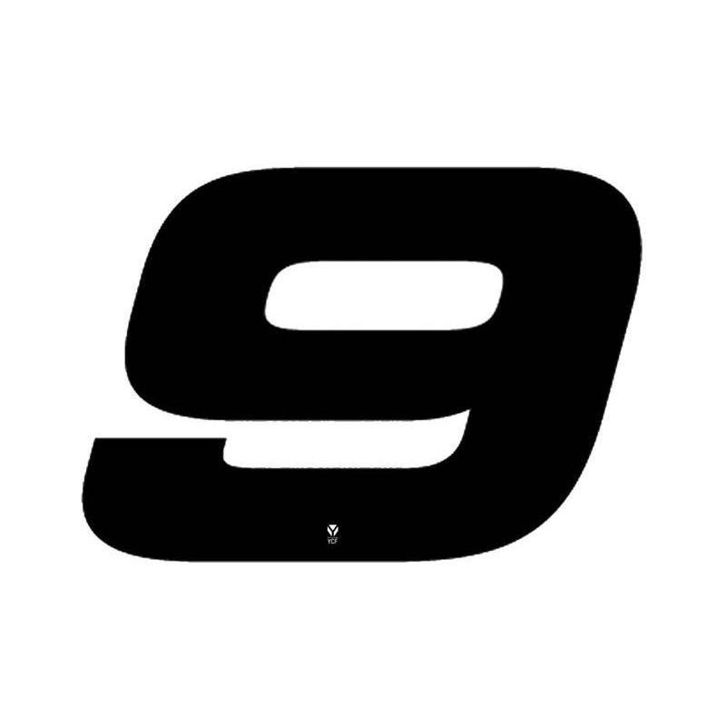 Numéro 9 YCF hauteur 18 cm noir (3 pièces)