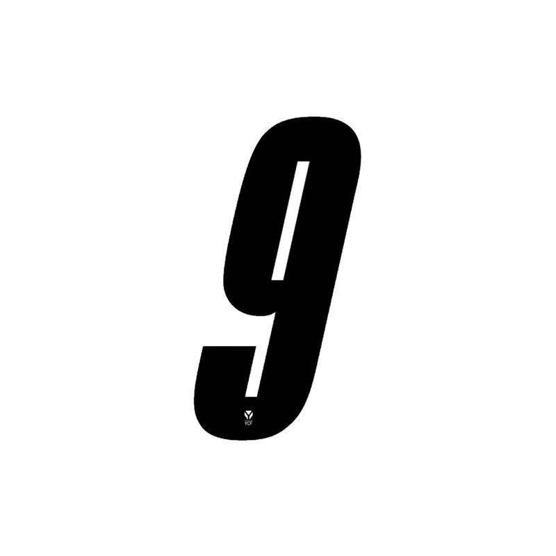 Numéro 9 YCF hauteur 8 cm noir (3 pièces)