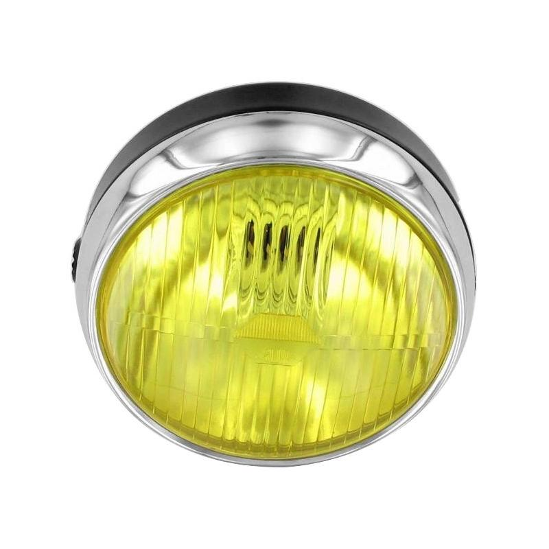 Optique rond Ø140 mm chrome/jaune