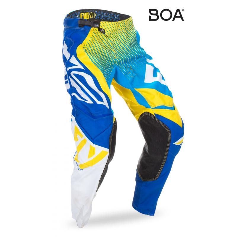 Pantalon cross enfant Fly Racing Evo 2.0 bleu/jaune/blanc