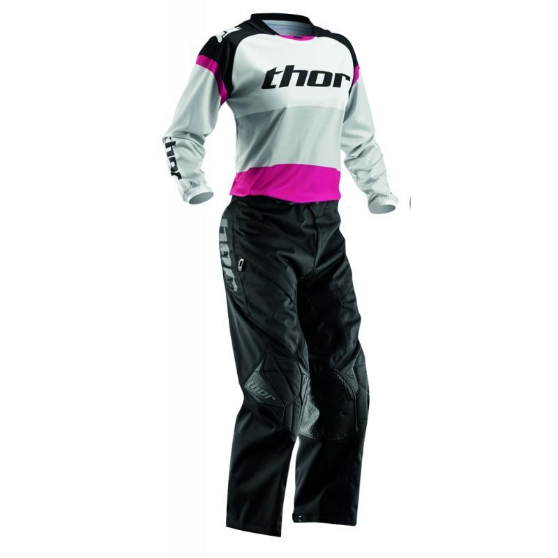 Pantalon cross femme Thor PHASE OFF ROAD noir/rose