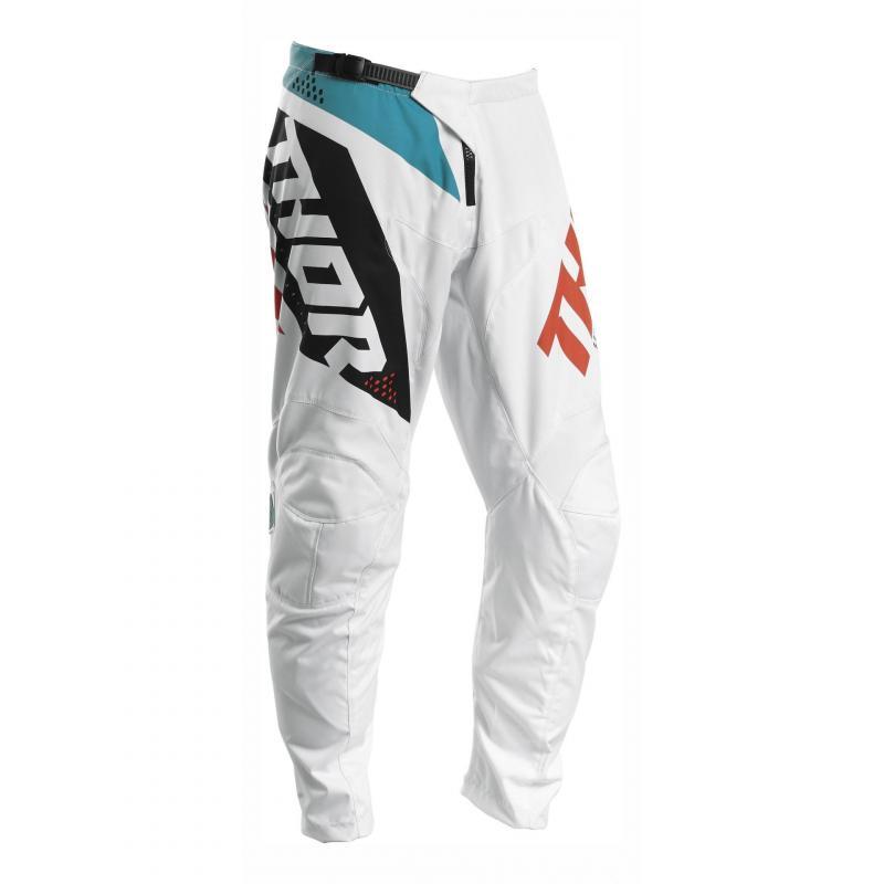 Pantalon cross Thor Sector Blade blanc/aqua