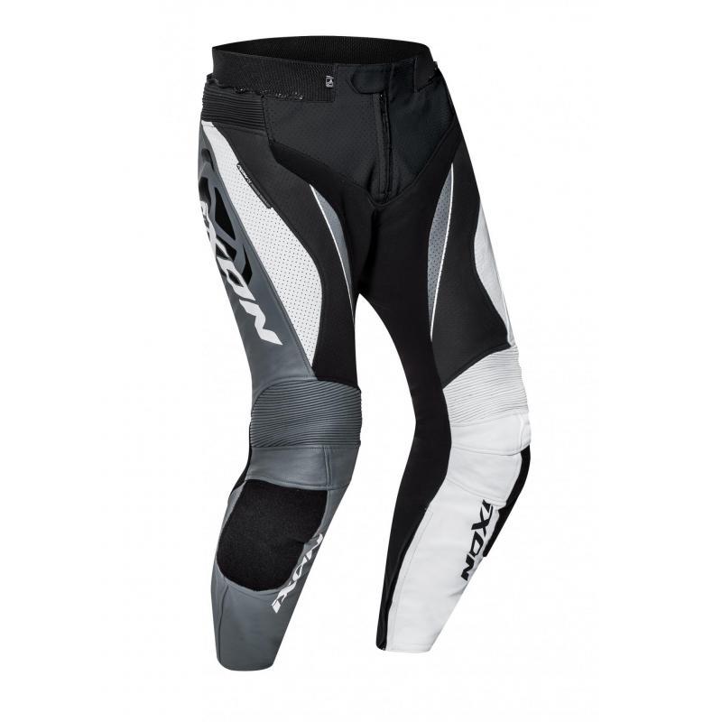 Pantalon cuir Ixon Falcon noir/blanc/gris