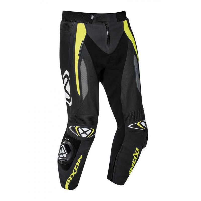 Pantalon cuir Ixon Vortex 2 noir/gris/jaune vif