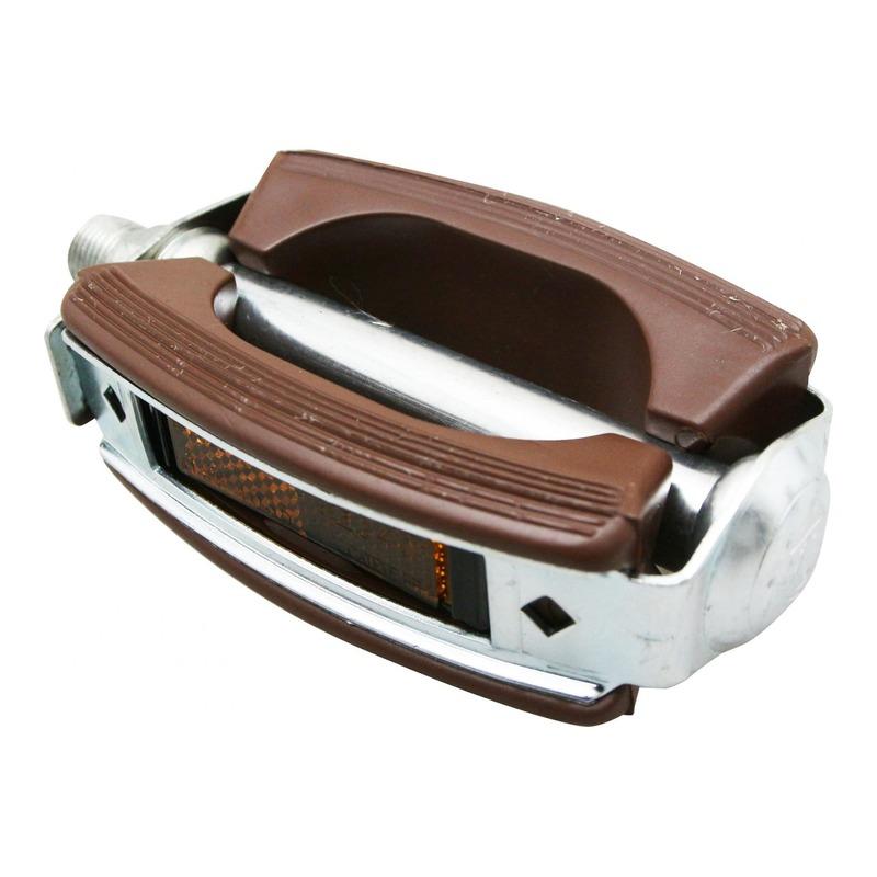 Pédales plates Marwi résine/acier argent/marron