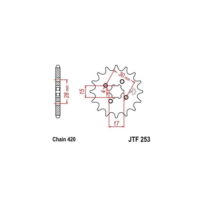 Pignon JT Sprockets Acier pas 420 17 dents - Pour Honda ST70 Dax 82-98