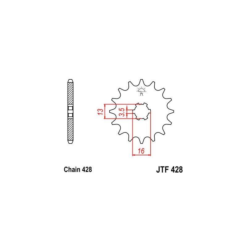 Pignon JT Sprockets Acier pas 428 12 dents - Pour Suzuki DS 80 80-03