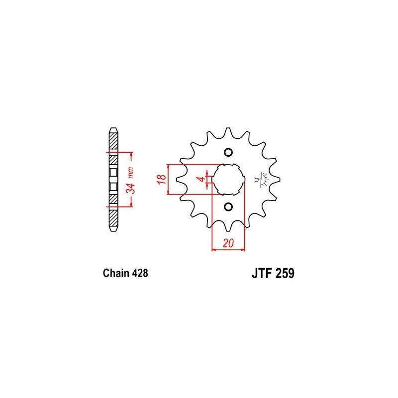Pignon JT Sprockets Acier pas 428 15 dents - Pour Honda CB 125 J 78-79
