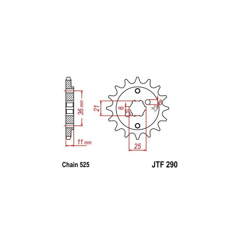 Pignon JT Sprockets Acier pas 525 15 dents - Pour Honda XBR 500 85-86
