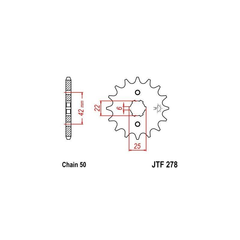 Pignon JT Sprockets Acier pas 530 16 dents - Pour Honda CJ 250 T 76-79