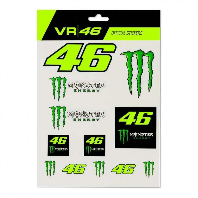 Planche de stickers VR46 monster noir/vert