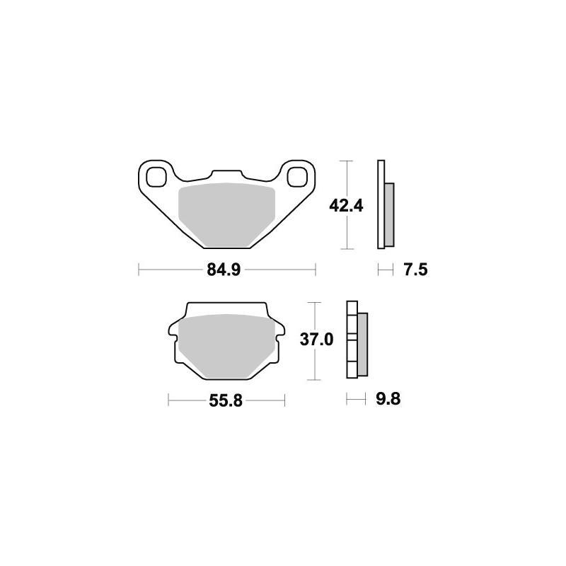 Plaquettes de frein SBS métal fritté 546HS