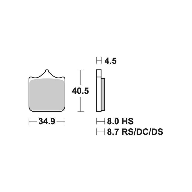 Plaquettes de frein SBS métal fritté 870RS