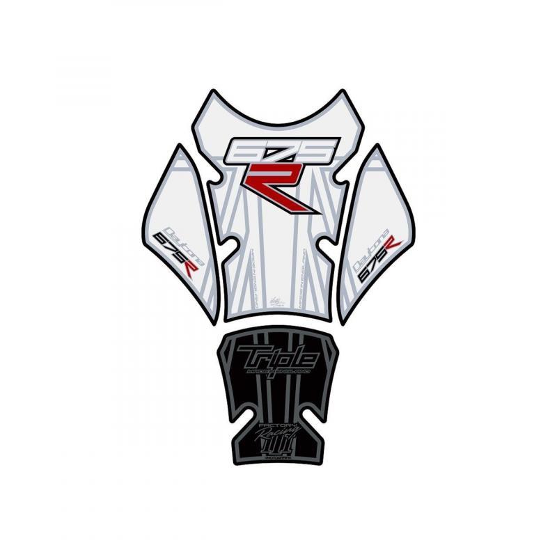 Protection de réservoir Motografix noir/blanc Triumph Daytona 675 R 4 pièces