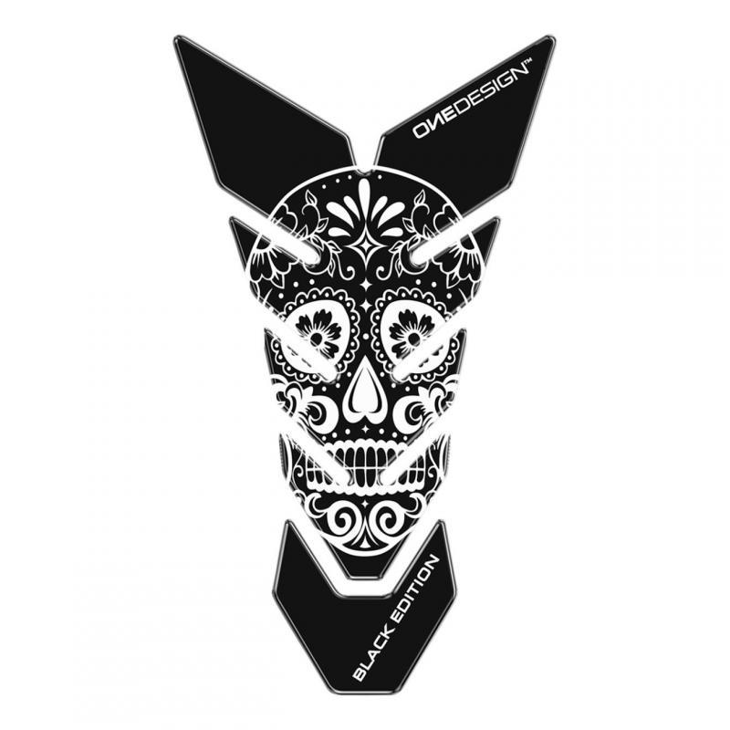 Protège réservoir Onedesign Black Edition Skull 2 noir/blanc