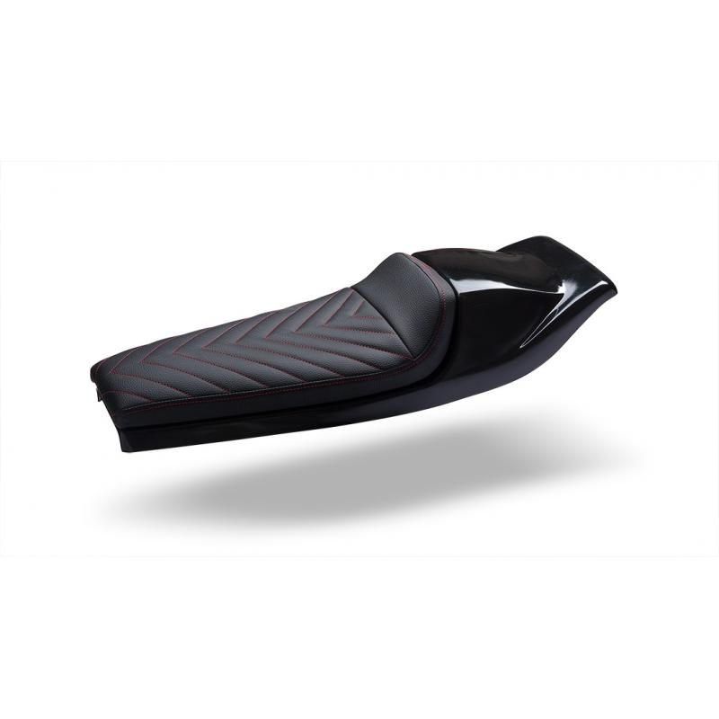 Selle café racer / flat track C. Racer SCR5 cuir synthétique noir coque noire