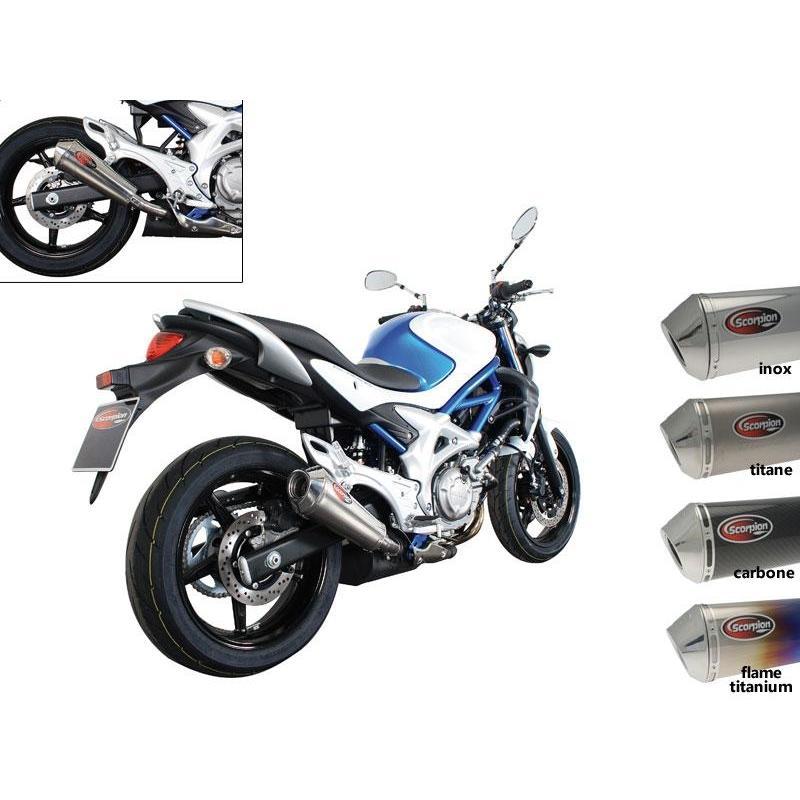 Silencieux Scorpion Homologué Power Cone Ovale Carbone pour Suzuki Gladius 650 09-15