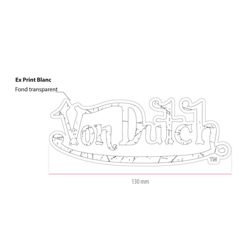 Sticker 13cm Von Dutch blanc