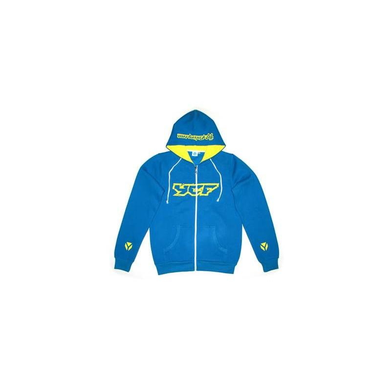 Sweat à capuche YCF zippé bleu