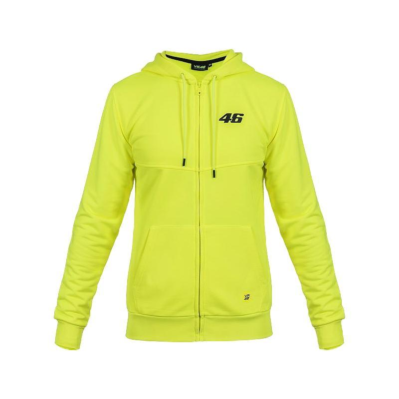 Sweat à capuche zippé VR46 Core jaune fluo