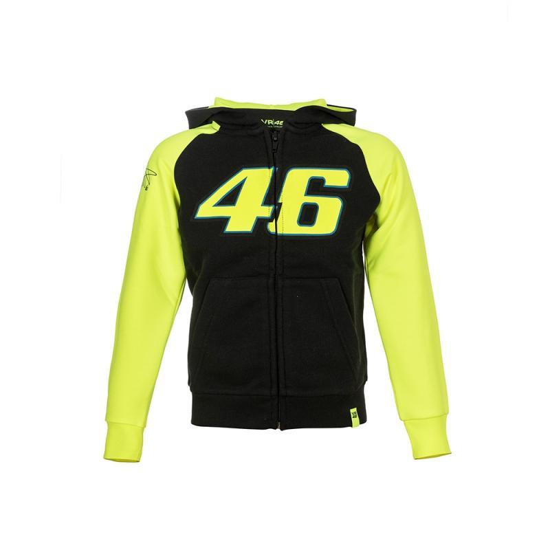 Sweat zip capuche enfant VR46 Valentino Rossi Race noir 2018