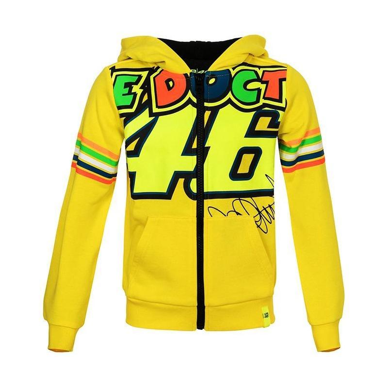 Sweat zip capuche enfant VR46 Valentino Rossi Stripes jaune 2018