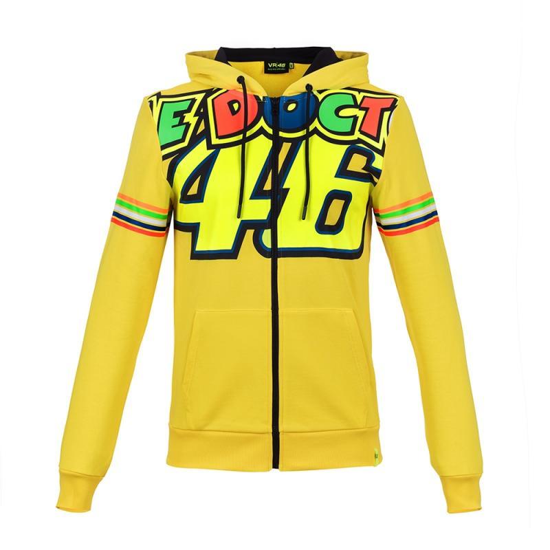 Sweat zip capuche femme VR46 Valentino Rossi Stripes jaune 2018