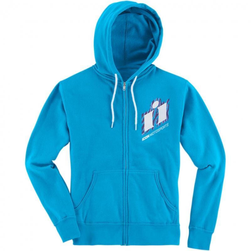 Sweat zippé à capuche Icon Neo Slant turquoise