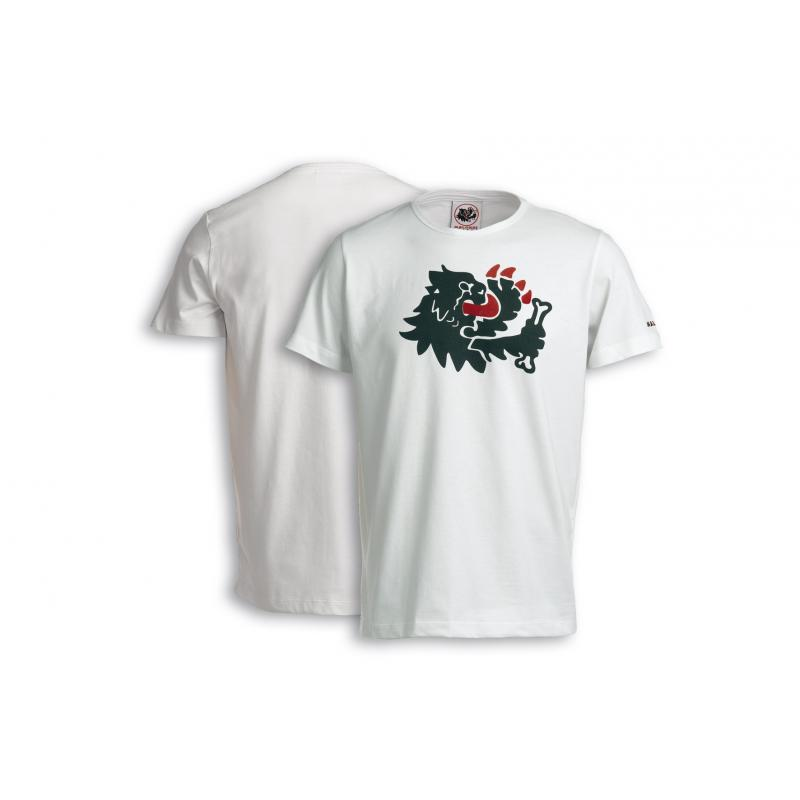 T-shirt Malossi griffe lion blanc