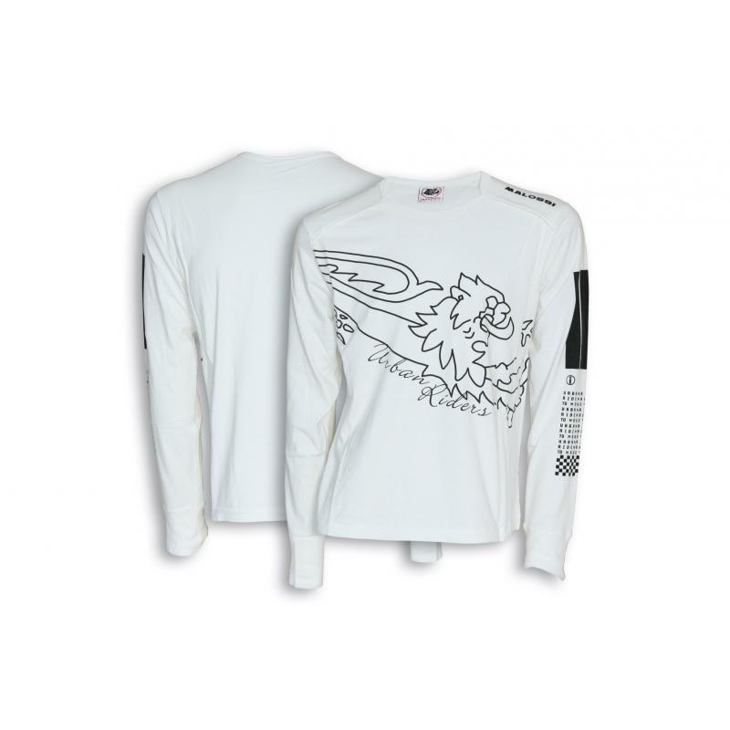 T-shirt manche longue Malossi Bar code blanc