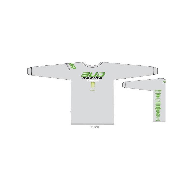 T-shirt manches longues enfant Bud Racing LS kawasaki team blanc/vert