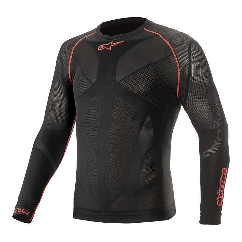 T-shirt technique manches longues Alpinestars Ride Tech v2 noir/rouge