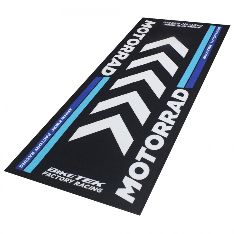 Tapis de garage BikeTek Serie 4 BMW Motorrad noir/bleu 190x80cm