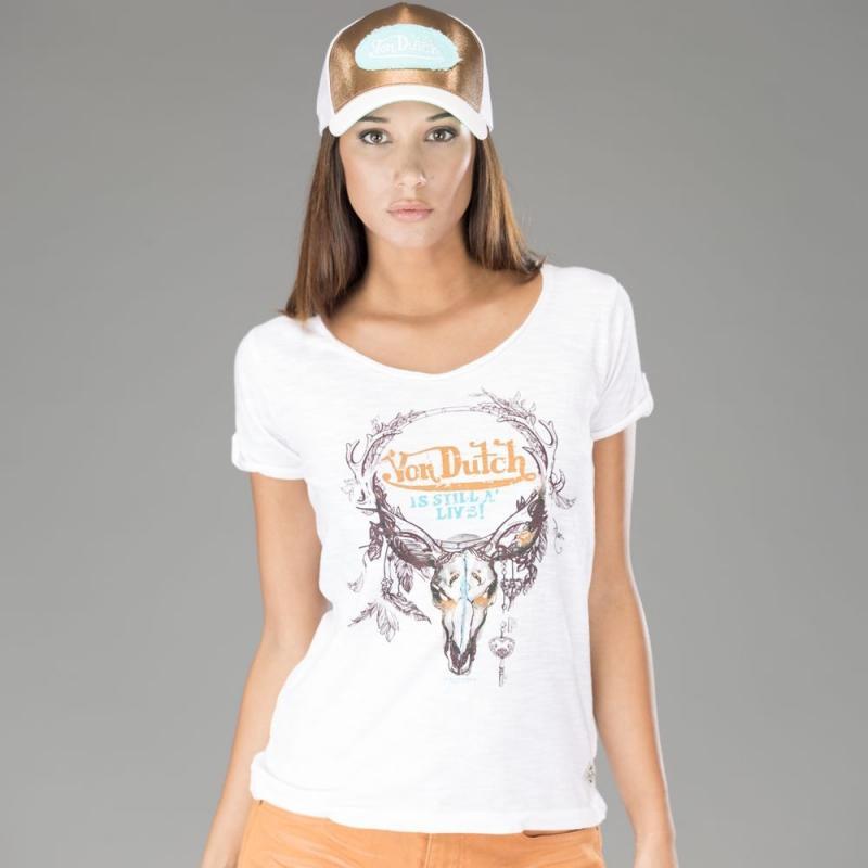 Tee-shirt femme Von Dutch Ashley blanc