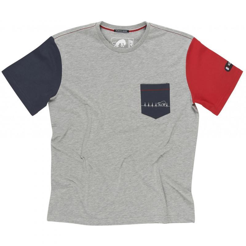 Tee shirt Furygan Heartbeat MC gris/bleu/rouge