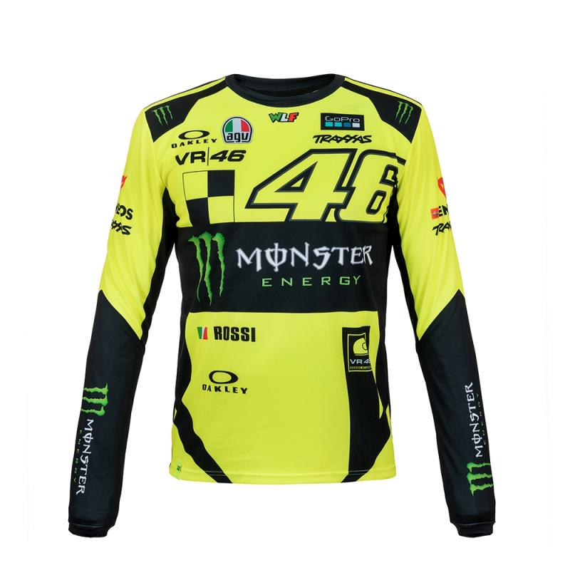 Tee shirt manches longues VR46 Valentino Rossi Monster jaune fluo 2018