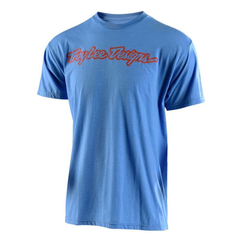 Tee-Shirt Troy Lee Designs Signature bleu électrique